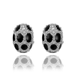 Vienna Jewelry 18K White Gold Oval Stud Earrings with Onyx Gems Made with Swarovksi Elements - Thumbnail 0