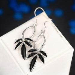 Vienna Jewelry 18K White Gold Onyx Petals Drop Earrings Made with Swarovksi Elements - Thumbnail 0