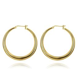 Vienna Jewelry Gold Plated Skinny Tube Hoop Earrings