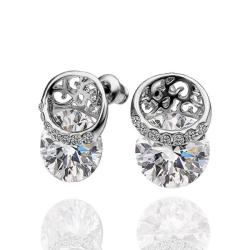 Vienna Jewelry 18K White Gold Stud Earrings Covered with Crystal Jewels Made with Swarovksi Elements - Thumbnail 0
