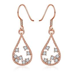 Vienna Jewelry Rose Gold Plated Modern Filligree Drop Down Earrings - Thumbnail 0