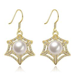 Vienna Jewelry Gold Plated Spider Web Design with Pearl Insert Drop Down Earrings