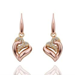 Vienna Jewelry Drop Down Rose Gold Classic Earrings Made with Swarovksi Elements - Thumbnail 0