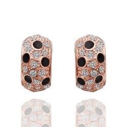 Vienna Jewelry 18K Rose Gold Covered with Onyx Jewels Earrings Made with Swarovksi Elements - Thumbnail 0
