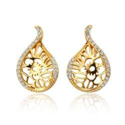 Vienna Jewelry 18K Gold Laser Cut Abstract Emblem Studs Made with Swarovksi Elements - Thumbnail 0