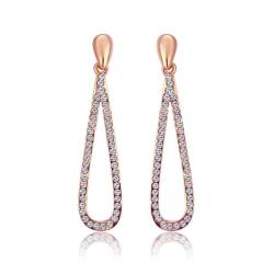 Vienna Jewelry 18K Rose Gold Classic Drop Down Earrings Made with Swarovksi Elements - Thumbnail 0