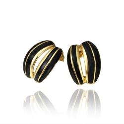 Vienna Jewelry 18K Gold Onyx Inline Stud Earrings Made with Swarovksi Elements - Thumbnail 0
