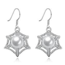 Vienna Jewelry White Gold Plated Spider Web Design with Pearl Insert Drop Down Earrings - Thumbnail 0