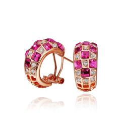 Vienna Jewelry 18K Rose Gold Ruby Crystals 1/2 Hoop Earrings Made with Swarovksi Elements - Thumbnail 0