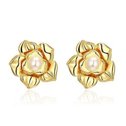 Vienna Jewelry 18K Gold Blossoming Petal Stud Earrings Made with Swarovksi Elements