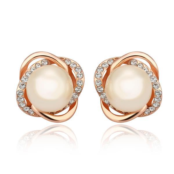 Vienna Jewelry 18K Rose Gold Spiral Studs with Pearl Center Made with Swarovksi Elements