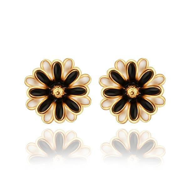 Vienna Jewelry 18K Gold Classic Floral Petal Stud Earrings Made with Swarovksi Elements