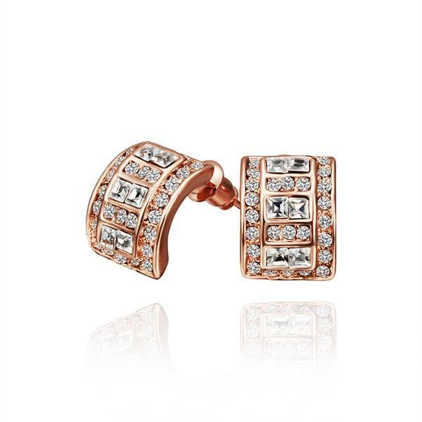 Vienna Jewelry 18K Rose Gold 1/2 Hoop Earrings with Crystal Jewels Made with Swarovksi Elements