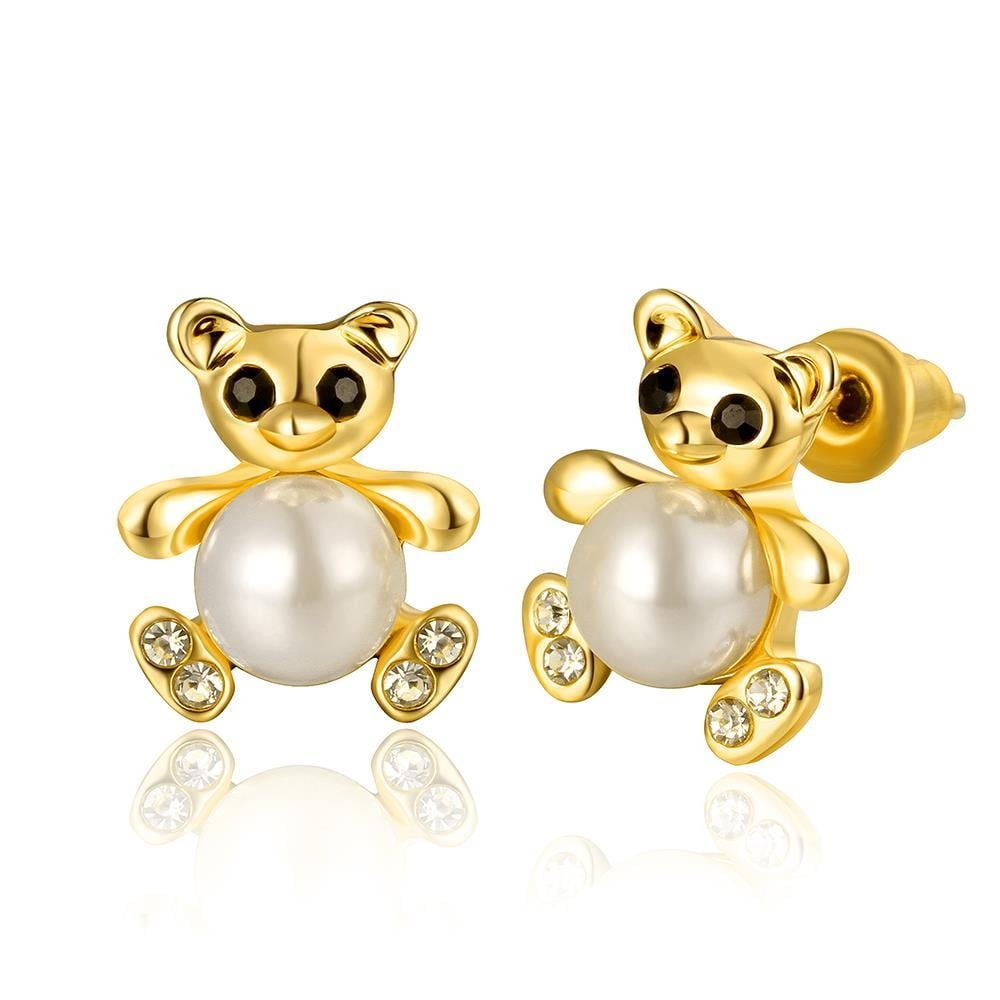 Vienna Jewelry 18K Gold Mini Petite Teddy Bear Stud Earrings Made with Swarovksi Elements