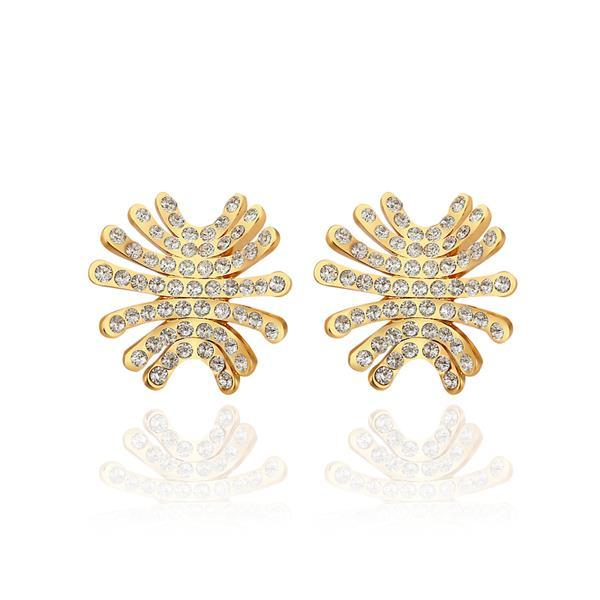 Vienna Jewelry 18K Gold Spiky Studs Covered with Jewels Made with Swarovksi Elements