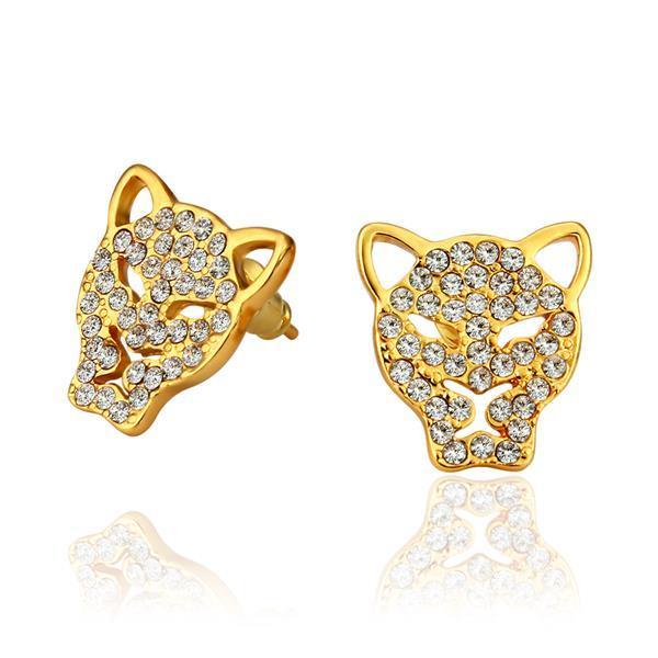 Vienna Jewelry 18K Gold Hollow Jaguar Studs Made with Swarovksi Elements
