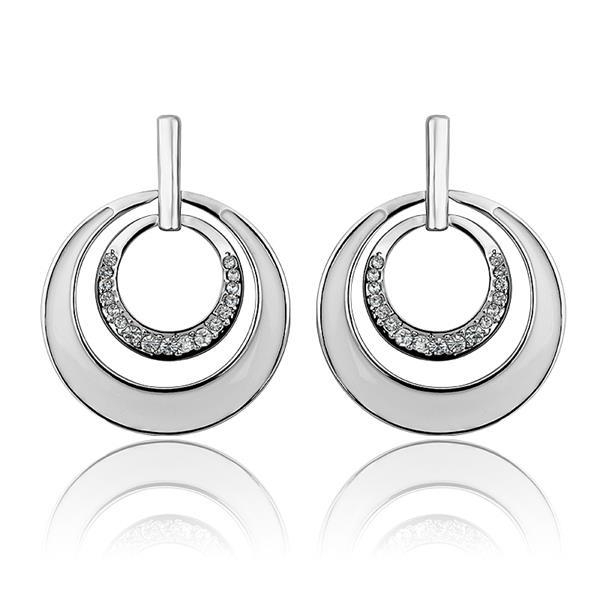 Vienna Jewelry 18K White Gold Ivory Layering Spiral Circle Earrings Made with Swarovksi Elements