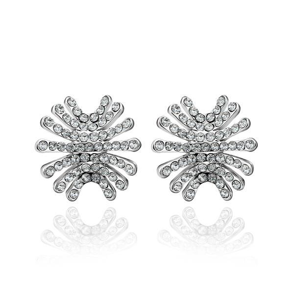 Vienna Jewelry 18K White Gold Spiky Studs Covered with Jewels Made with Swarovksi Elements