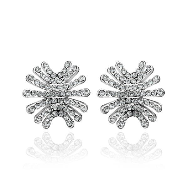 Vienna Jewelry 18K White Gold Spiky Studs Covered with Jewels Made with Swarovksi Elements - Thumbnail 0