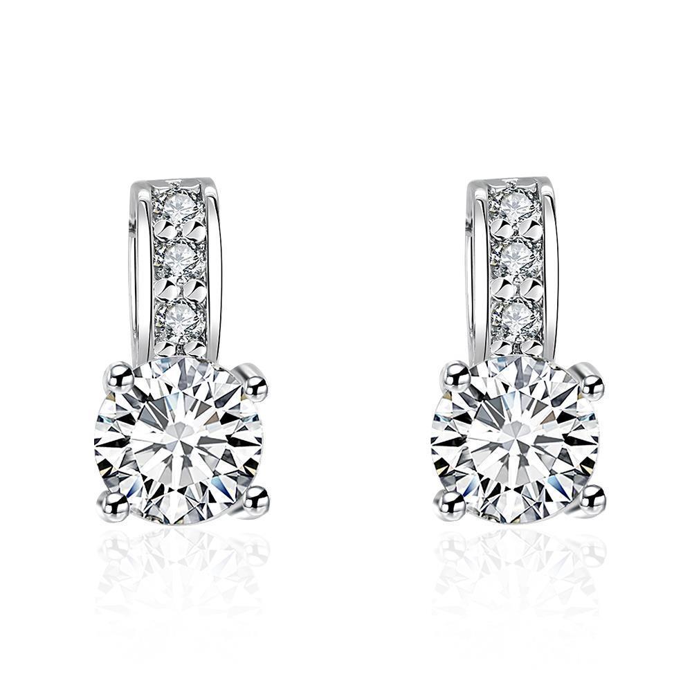 Vienna Jewelry Triple Stone Crystal Pave with Diamond Simulated Studs