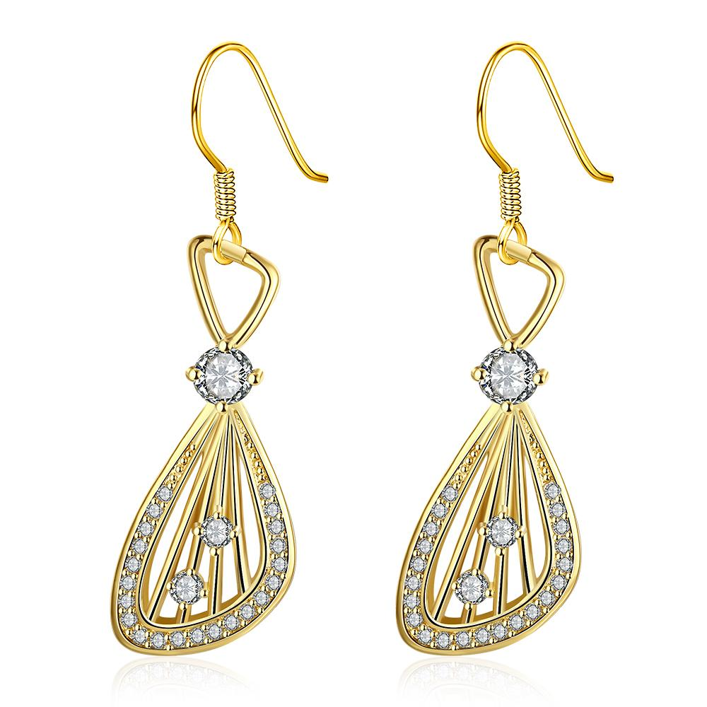 Vienna Jewelry Gold Plated Grape Vine Drop Down Earrings