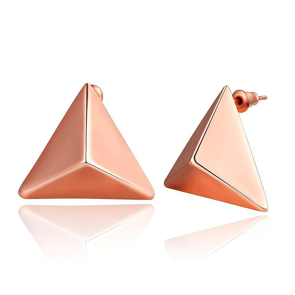 Vienna Jewelry 18K Rose Gold Petite Triangle Stud Earrings Made with Swarovksi Elements