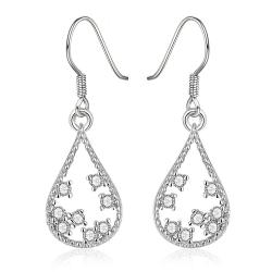 Vienna Jewelry White Gold Plated Modern Filligree Drop Down Earrings - Thumbnail 0