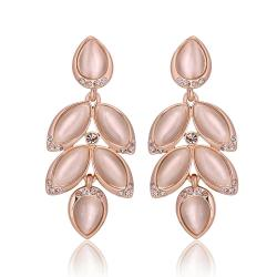 Vienna Jewelry 18K Rose Gold Dangling Rose Petals Drop Down Earrings Made with Swarovksi Elements