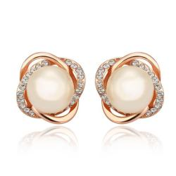 Vienna Jewelry 18K Rose Gold Spiral Studs with Pearl Center Made with Swarovksi Elements - Thumbnail 0