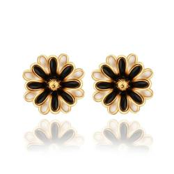 Vienna Jewelry 18K Gold Classic Floral Petal Stud Earrings Made with Swarovksi Elements - Thumbnail 0