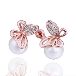 Vienna Jewelry 18K Rose Gold Mini Butterfly with Pearl Earrings Made with Swarovksi Elements