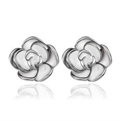 Vienna Jewelry 18K White Gold Floral Petals with Ivory Inlay Made with Swarovksi Elements