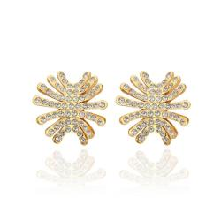 Vienna Jewelry 18K Gold Spiky Studs Covered with Jewels Made with Swarovksi Elements - Thumbnail 0
