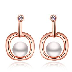 Vienna Jewelry 18K Rose Gold Abstract Shaped Drop Down Earrings Made with Swarovksi Elements - Thumbnail 0