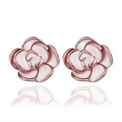 Vienna Jewelry 18K Rose Gold Floral Petals with Ivory Inlay Made with Swarovksi Elements