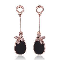 Vienna Jewelry 18K Rose Gold Drop Down Earrings with Onyx Gem Centerpiece Made with Swarovksi Elements