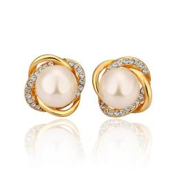 Vienna Jewelry 18K Gold Spiral Studs with Pearl Center Made with Swarovksi Elements - Thumbnail 0