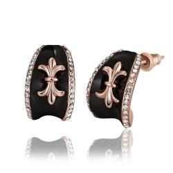 Vienna Jewelry 18K Rose Gold Stud Earrings with French Emblem Made with Swarovksi Elements - Thumbnail 0