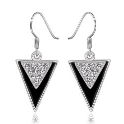 Vienna Jewelry 18K White Gold Downwards Triangular Drop Down Earrings Made with Swarovksi Elements - Thumbnail 0