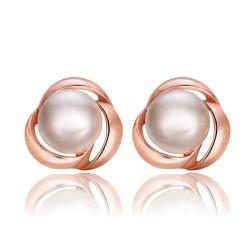 Vienna Jewelry 18K Rose Gold Love Knot Stud Earrings Made with Swarovksi Elements - Thumbnail 0