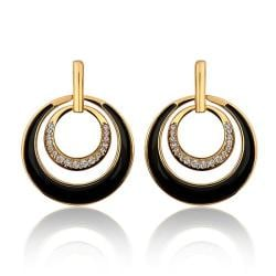 Vienna Jewelry 18K Gold Onyx Layering Spiral Circle Earrings Made with Swarovksi Elements - Thumbnail 0