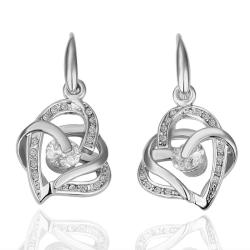 Vienna Jewelry 18K White Gold Double Hearts Earrings Made with Swarovksi Elements