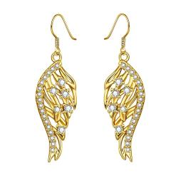 Gold Plated Drop Down Phoneix Emblem Drop Earrings - Thumbnail 0
