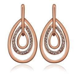 Vienna Jewelry 18K Rose Gold Abstract Artistic Drop Down Earrings Made with Swarovksi Elements - Thumbnail 0