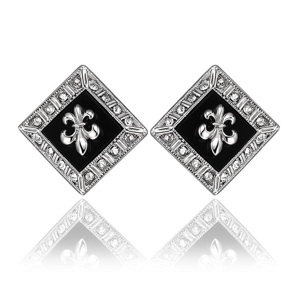 Vienna Jewelry 18K White Gold Diamond Shaped Emblem Input Stud Earrings Made with Swarovksi Elements