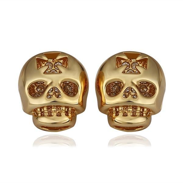 Vienna Jewelry 18K Gold Skull Shaped Stud Earrings Made with Swarovksi Elements