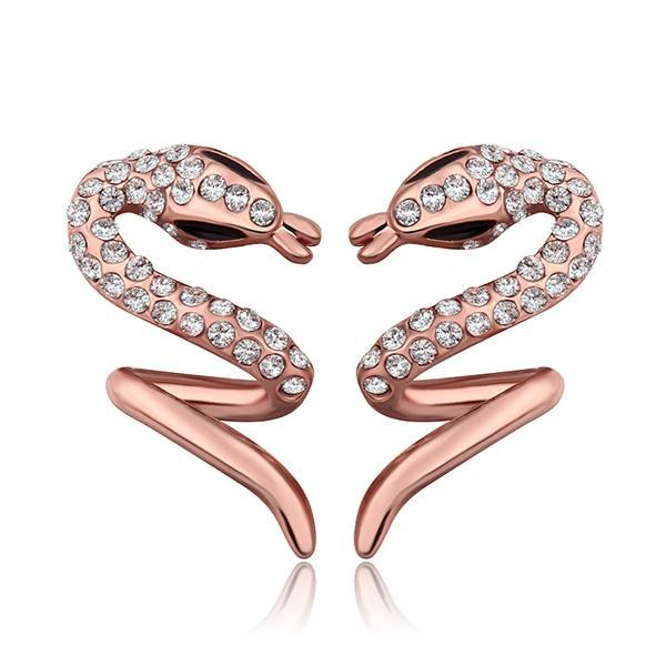 Vienna Jewelry 18K Rose Gold Spiral Slithering Snake Drop Down Earrings Made with Swarovksi Elements