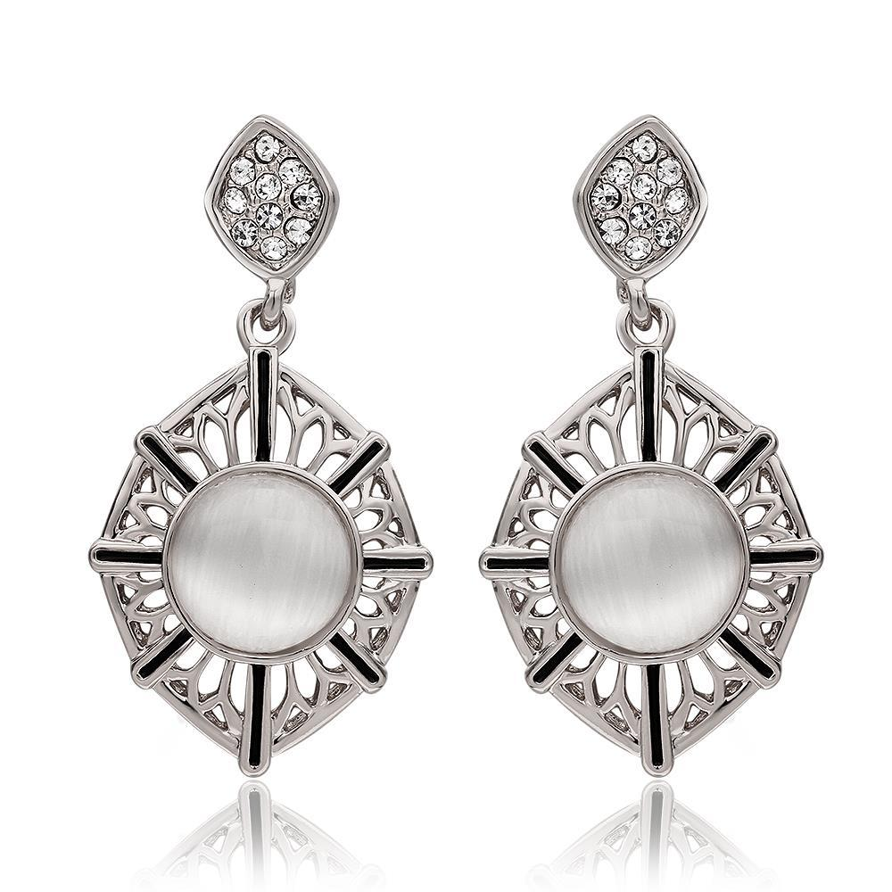 Vienna Jewelry 18K White Gold Natural Gemstone Classic Drop Down Earrings Made with Swarovksi Elements