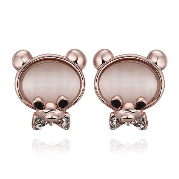 Vienna Jewelry 18K Rose Gold Large Teddy Bear Stud Earrings Made with Swarovksi Elements
