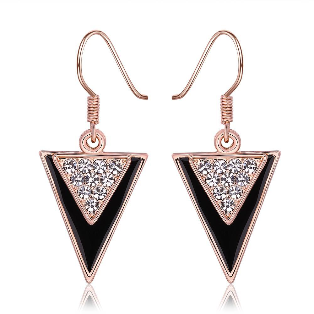 Vienna Jewelry 18K Rose Gold Downwards Triangular Drop Down Earrings Made with Swarovksi Elements